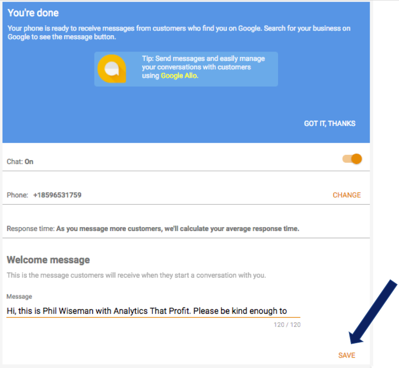 how to set up messaging on your google my business page save changes analytics that profit.png