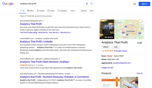 google my business listing_analytics that profit